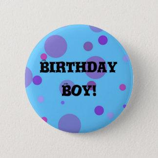 誕生日のバッジの青の水玉模様 缶バッジ