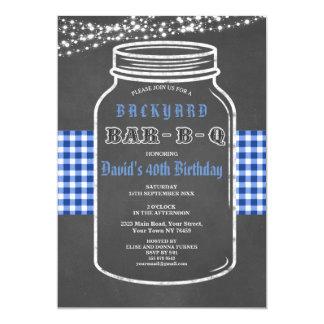 誕生日のバーベキューのメーソンジャーのギンガムの招待状 カード
