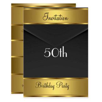 誕生日のパーティの招待状の金ゴールドの第50誕生会 カード
