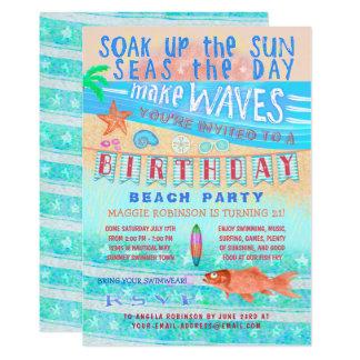 誕生日のビーチまたはプールを囲んでのパーティの夏の魚の波の水泳 カード
