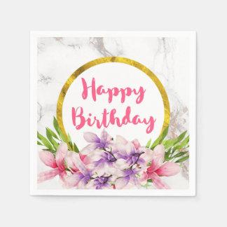 誕生日のピンクおよび紫色の水彩画のマグノリア スタンダードカクテルナプキン
