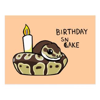 誕生日のヘビのかわいい球の大蛇のスケッチの郵便はがき ポストカード