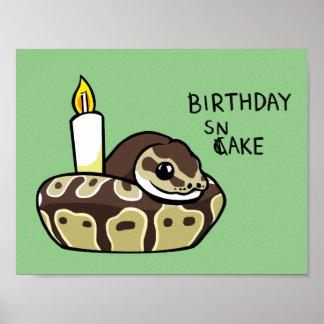 誕生日のヘビのかわいい球の大蛇のスケッチポスター ポスター