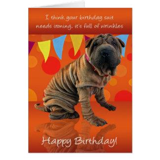 誕生日のユーモアのおもしろいのShar Peiのバースデー・カード カード