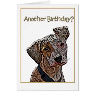 誕生日のユーモアのフロップの耳付つきの雑種犬のイラストレーション グリーティングカード