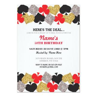 誕生日のラスベガスのカジノ夜パーティの招待状 カード
