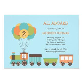 誕生日の列車の誕生日のパーティの招待状 12.7 X 17.8 インビテーションカード