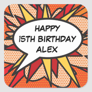 誕生日の名前入りな漫画本のポップアート スクエアシール