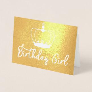 誕生日の女の子の王冠の女王の金ゴールドホイルカード 箔カード