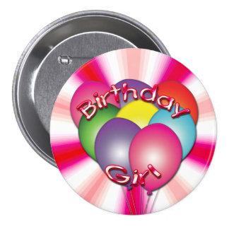 誕生日の女の子はボタンを風船のようにふくらませます 7.6CM 丸型バッジ
