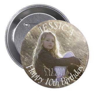 誕生日の女の子ボタン 7.6CM 丸型バッジ