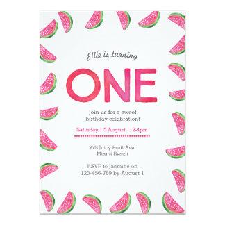 誕生日の招待状|の熱帯スイカのピンク カード