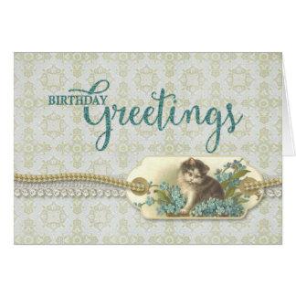 誕生日の挨拶のヴィンテージの子猫のラベル グリーティングカード
