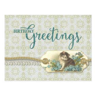 誕生日の挨拶のヴィンテージの子猫の再生 ポストカード
