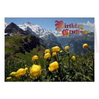 誕生日の挨拶-キンボウゲ、Jungfrauの地域 カード