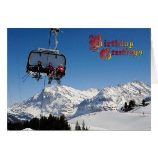 誕生日の挨拶- Jungfrauの近くのケーブル・カー カード
