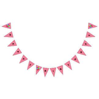 誕生日の旗--赤いギンガム バンティングフラッグ