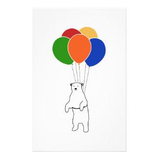 誕生日の気球を持つ飛んでいるな白くま 便箋
