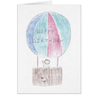 誕生日の熱気ブランデーグラス カード