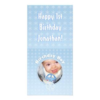 誕生日の男の子の写真の冬Onederland カード
