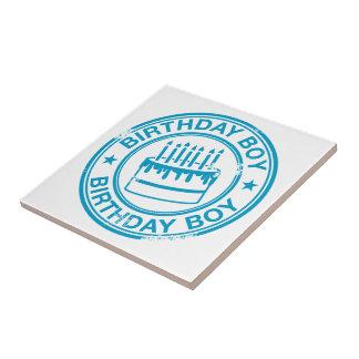誕生日の男の子-青いゴム印の効果 タイル
