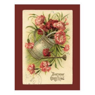 誕生日の花のじょうろのヴィンテージの再生 ポストカード
