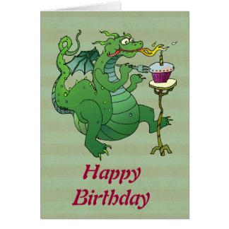 誕生日の蝋燭を吹くおもしろいなドラゴン カード