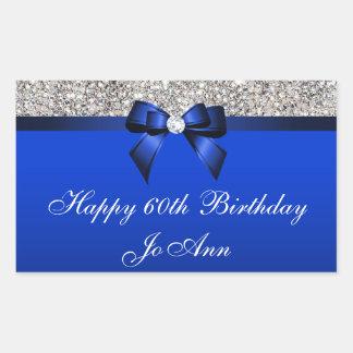 誕生日の青い弓銀のスパンコール 長方形シール・ステッカー