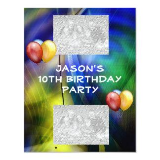 誕生日の青緑の抽象芸術及び気球の写真 10.8 X 14 インビテーションカード
