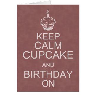 誕生日の願いは、穏やかなカップケーキを保存します グリーティングカード