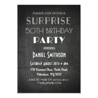 誕生日の驚きの素朴なチョーク年齢の招待 カード