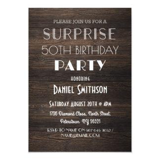 誕生日の驚きの素朴な木年齢の招待 カード