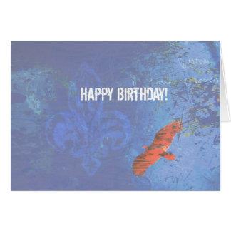 誕生日の鳥の上昇の青いグランジ カード