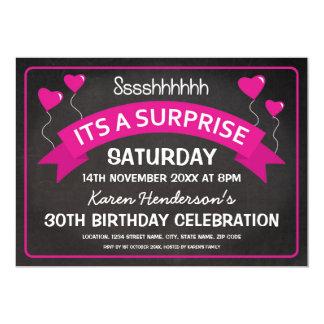 誕生日の黒板の驚きのピンクの気球 カード