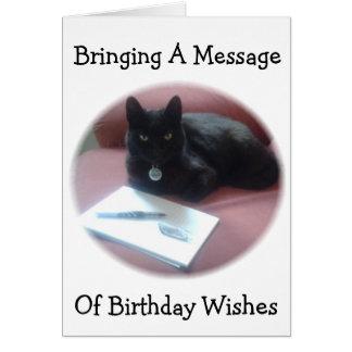 誕生日の黒猫の許可メッセージ カード