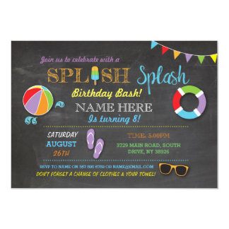誕生日のSplishのしぶきの招待を泳ぐプールを囲んでのパーティ カード