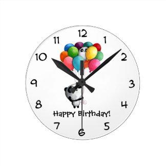 誕生日はパンダくまを風船のようにふくらませます ラウンド壁時計