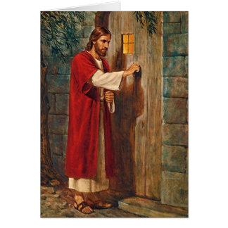 誕生日イエス・キリストはドアでたたきます カード