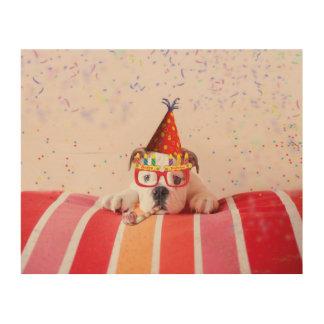 誕生日犬 ウッドウォールアート