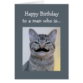 誕生日猫である人のためのおもしろいな髭 カード