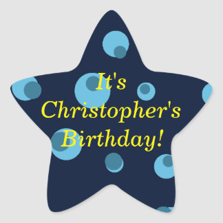 """""""誕生日発表""""の-点々のあるで青いデザイン[1] 星シール"""