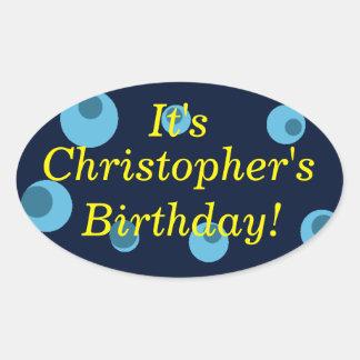 """""""誕生日発表""""の-点々のあるで青いデザイン[1] 楕円形シール"""