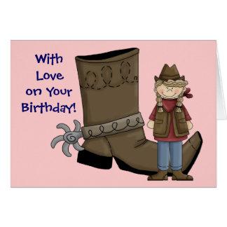 誕生日私は西部幸運な女の子女性のカーボーイ及びカード-です カード