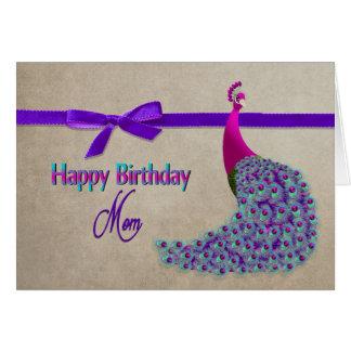 誕生日、お母さん-威厳のあるな孔雀 カード