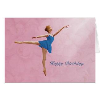 誕生日、アラベスクの位置のバレリーナ カード