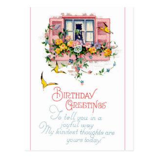 誕生日-ピンクシャッター窓 ポストカード