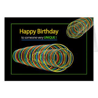 誕生日-ユニークな誰か-抽象的なカラフル カード