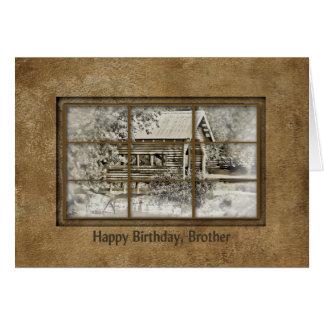 誕生日-兄弟-窓の眺めので覆われた橋 カード