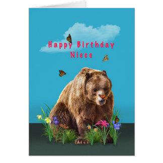 誕生日、姪、くまおよび蝶 カード