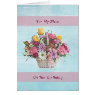 誕生日、姪、バスケットのカラフルな花 カード